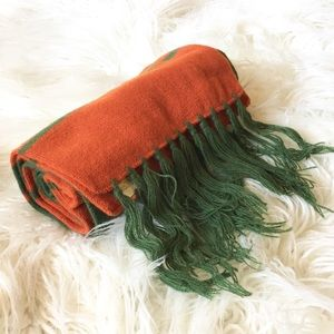 Vintage 80s Acrylic Fringed Striped Winter Scarf